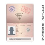 template of an open passport... | Shutterstock .eps vector #769403185