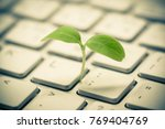 tree growing on a computer... | Shutterstock . vector #769404769