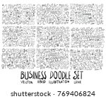 Big Set of Business illustration Hand drawn doodle Sketch line vector