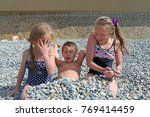 siblings have fun time on the... | Shutterstock . vector #769414459
