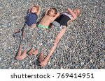 siblings have fun time on the... | Shutterstock . vector #769414951