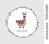 cute christmas themed llama...   Shutterstock .eps vector #769416085