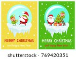 postcard merry christmas and... | Shutterstock .eps vector #769420351