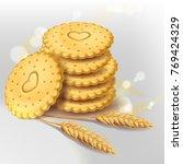 stack of round biscuit cookies... | Shutterstock .eps vector #769424329