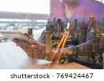 double exposure of man or male... | Shutterstock . vector #769424467