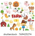 Stock vector farm animal vector set 769425274