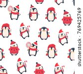 seamless pattern with penguins. ... | Shutterstock .eps vector #769425769
