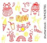 fun and joy of emotion. hippie... | Shutterstock .eps vector #769428781