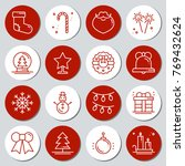 christmas new year icons gift... | Shutterstock .eps vector #769432624
