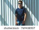 front view. young hipster boy... | Shutterstock . vector #769438507