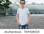 front view. young hipster boy... | Shutterstock . vector #769438525