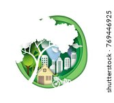 green city and save energy... | Shutterstock .eps vector #769446925