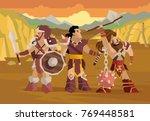 prehistoric barbarian warriors... | Shutterstock .eps vector #769448581