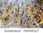 city busy pedestrian crossing | Shutterstock . vector #769449127
