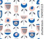 kid flower seamless pattern.... | Shutterstock .eps vector #769455115