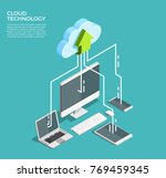 Cloud computing technology users network configuration isometric advertisement poster with pc monitor tablet phone laptop vector illustration  | Shutterstock vector #769459345