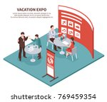 isometric expo stand exhibition ... | Shutterstock .eps vector #769459354
