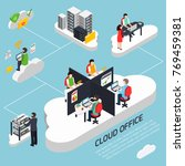 cloud office isometric... | Shutterstock .eps vector #769459381