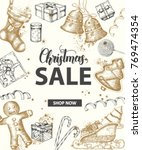 christmas sale banner with hand ... | Shutterstock .eps vector #769474354
