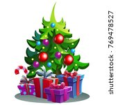christmas tree with gifts.... | Shutterstock .eps vector #769478527