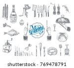 hand drawn vintage sketch set... | Shutterstock .eps vector #769478791
