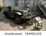Small photo of Ouistreham, Riva Bella; France - july 17 2017 : an half track type M in the Grand Bunker, museum of 6 june 1944