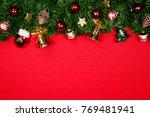 christmas fir tree with...   Shutterstock . vector #769481941