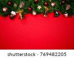 christmas fir tree with...   Shutterstock . vector #769482205