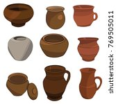 isolated clay pots set | Shutterstock .eps vector #769505011