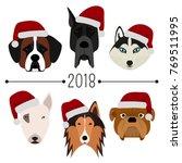 2018. happy new year. set of 6... | Shutterstock .eps vector #769511995