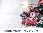 new year's clock. christmas... | Shutterstock . vector #769519375