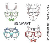 set of hand drawn cute funny... | Shutterstock .eps vector #769527769