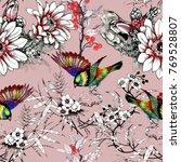 watercolor hand drawn seamless... | Shutterstock . vector #769528807