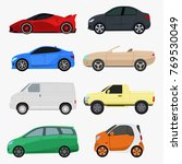 set of 8 different cars on a... | Shutterstock .eps vector #769530049