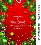 christmas background with fir... | Shutterstock .eps vector #769544791