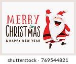 santa claus greeting card... | Shutterstock .eps vector #769544821