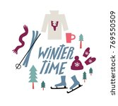 winter lettering with winter... | Shutterstock .eps vector #769550509