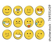 set of smile icons. emoji.... | Shutterstock .eps vector #769551439