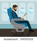 passenger man  sitting in chair ... | Shutterstock .eps vector #769552525