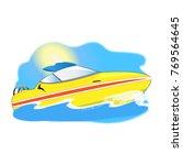 yellow boat in sea waves   Shutterstock .eps vector #769564645