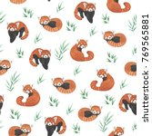 Seamless Pattern With Red Pand...