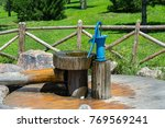 old fashioned water pump in... | Shutterstock . vector #769569241