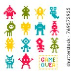 collection of pixel monsters.... | Shutterstock .eps vector #769572925