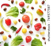 food collage of fresh... | Shutterstock . vector #769577587