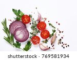 fresh vegetables and herbs on a ... | Shutterstock . vector #769581934