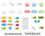 set of pills in different forms ... | Shutterstock .eps vector #769583104