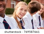 portrait of teenage students in ... | Shutterstock . vector #769587661