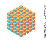 geometric cube of smaller... | Shutterstock .eps vector #769594291