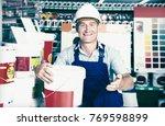 positive builder workman in...   Shutterstock . vector #769598899