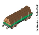 wagon wood icon. isometric... | Shutterstock .eps vector #769601041